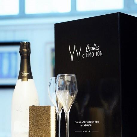 Champagne Nature et Flûtes Dégustation avec Carnet noir et or