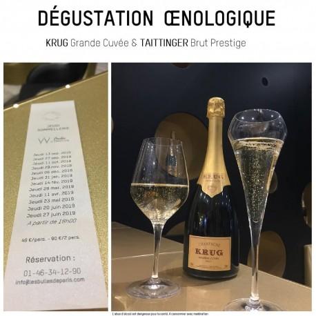 Champagne Krug millésime vintage et Taittinger , Pinot Noir & Chardonnay